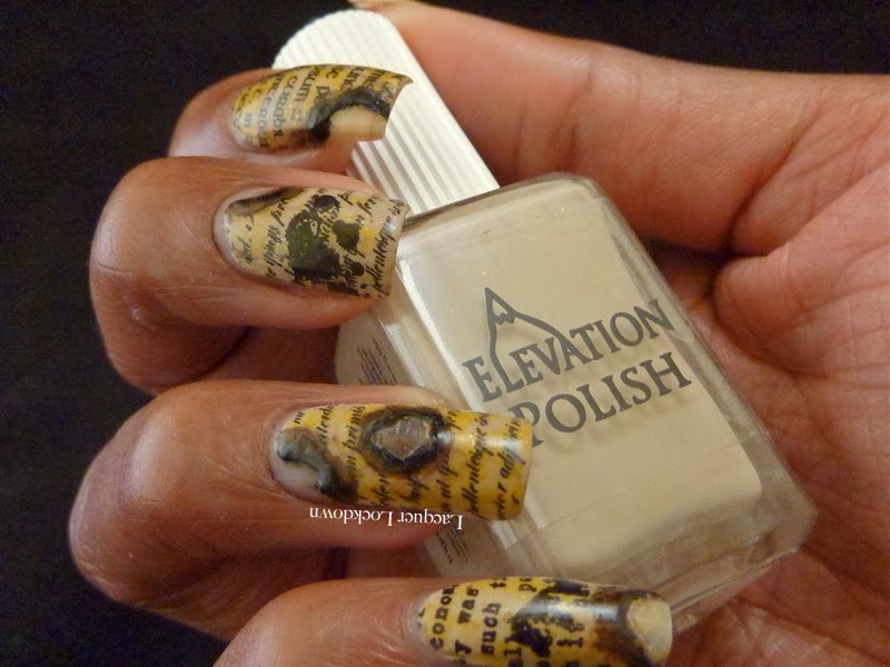 Lacquer Lockdown - Messy Mansion, MM24, stamping, nail art, pueen 2014,  cici & sisi, Elevation polish, Elevation Polish Cerro Torre 2, Elevation Polish Streetside NYC, newspaper nails, burnt paper nails, love letter nails, literary inspired nails, paper nails, Messy Mansion Scriptorium plate, Essie Matte About You, cute nails, easy nails, diy nail art, nail art ideas,