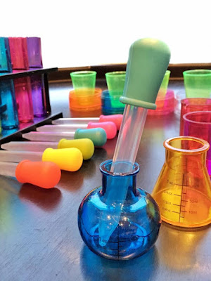 plastic potion bottles and pipettes