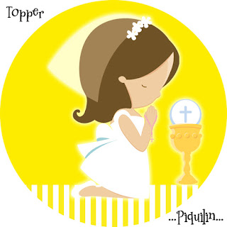 Toppers or Free Printable Candy Bar Labels for Girl´s First Communion.