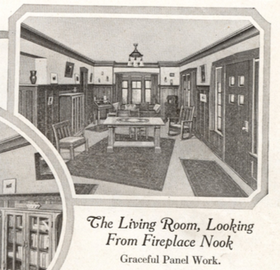 Living room interior image Sears Ashmore, in the 1918 Sears Modern Homes catalog