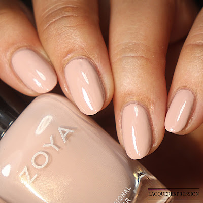 Swatch of a pink blush nail polish by Zoya called Agnes