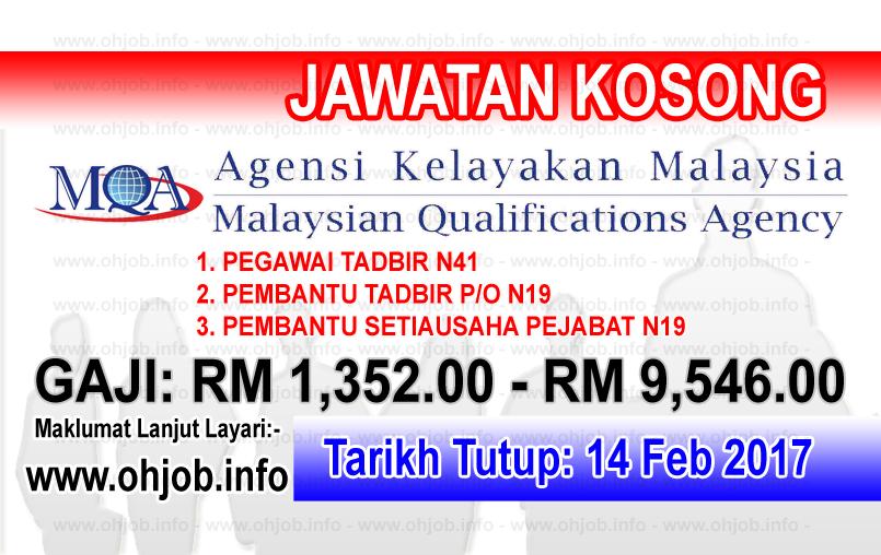 Jawatan Kerja Kosong Agensi Kelayakan Malaysia (MQA) logo www.ohjob.info februari 2017