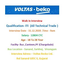 ITI All Trade Jobs Vacancy in Voltbek Home Appliances India Private Ltd, Sanand, Gujarat