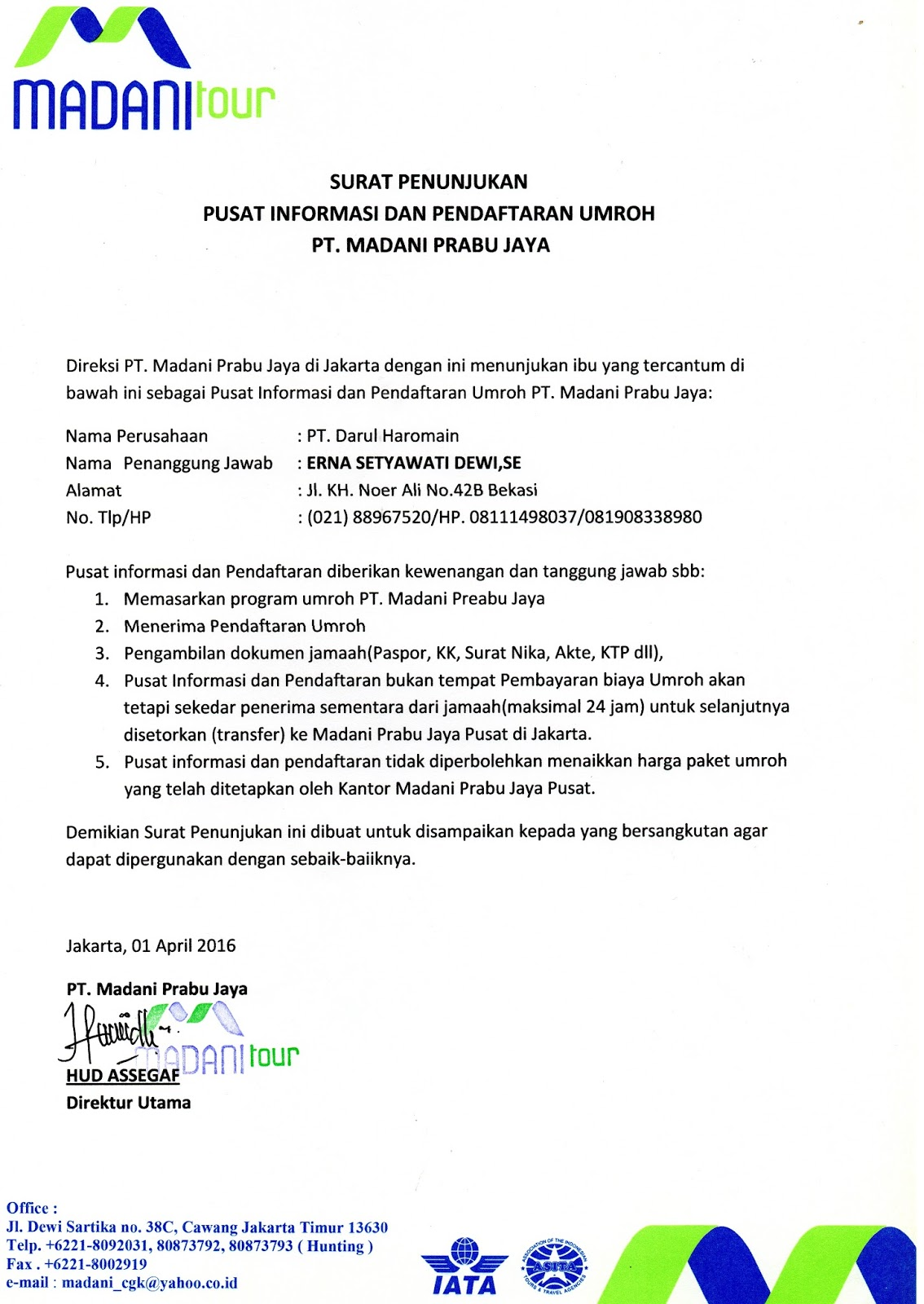 Contoh Surat Penunjukan Pusat Informasi - Ketik Surat