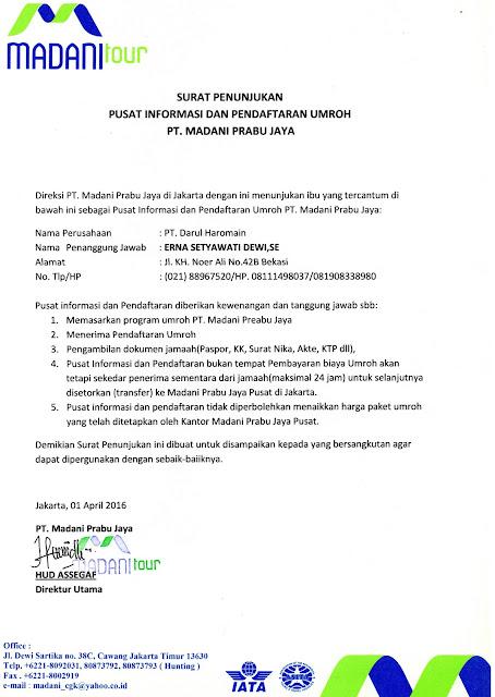 surat penunjukan pusat informasi dan pendaftaran umroh (konsorsium)