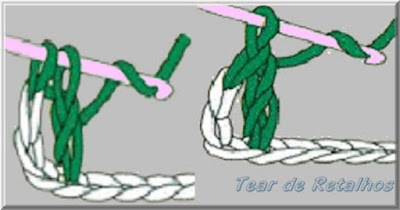 Ilustração mostrando um canhoto Concluindo a execução do ponto alto. Outro ponto básico do crochê.