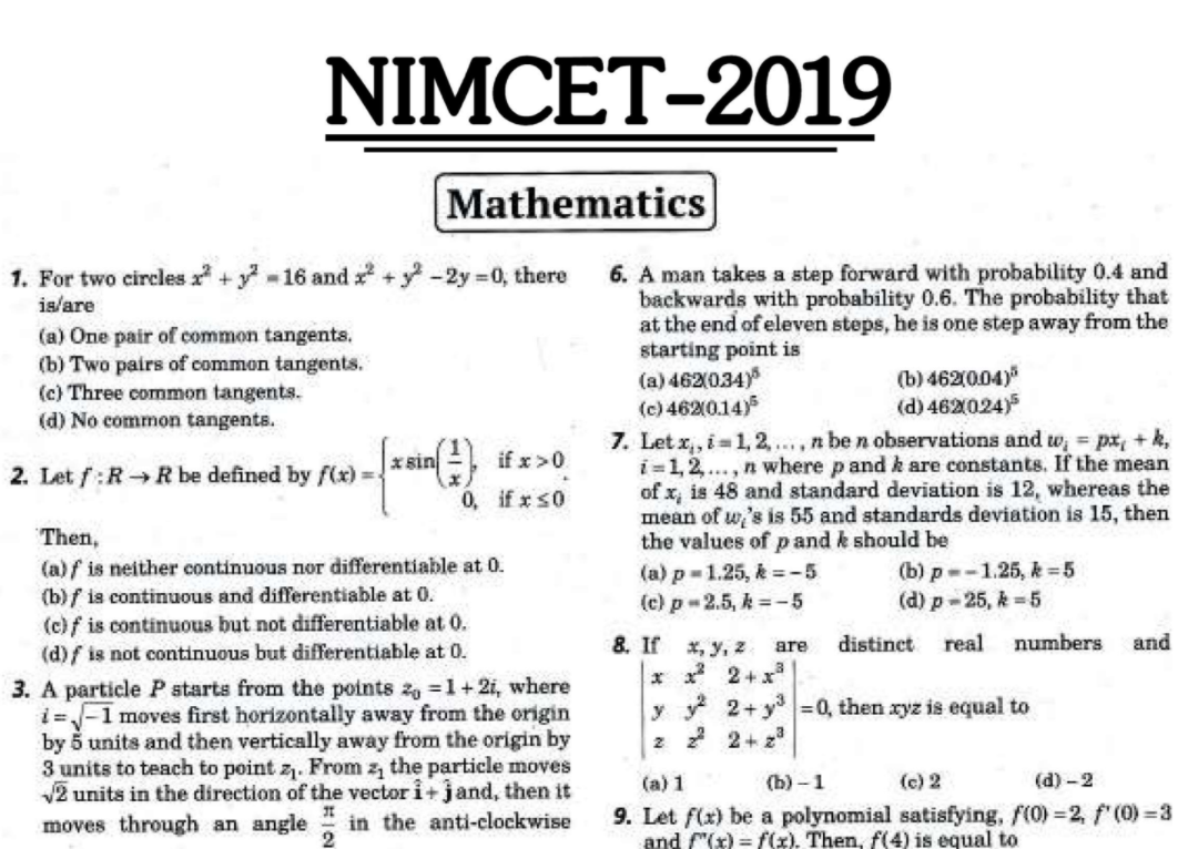 Download PDF For nimcet previous year question paper