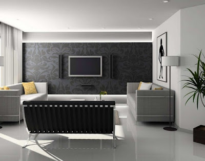 Perpaduan Warna Ruang Tamu Hitam Putih - Living Room Color black and white