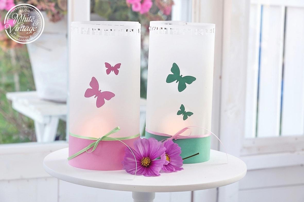 Windlichter für den Frühling aus Papier basteln.