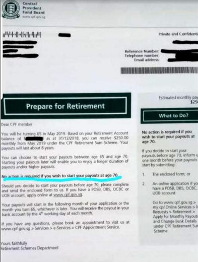 A message circulating online is wrongly suggesting that the Government had quietly shifted the 'retirement payout age' from 65 to 70, the Central Provident Fund Board said on Saturday (Jan 19).