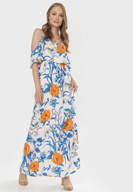 Biało-Niebieska Sukienka Lairena