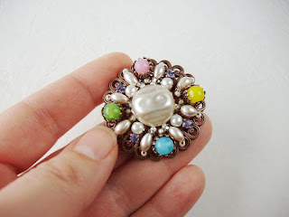 rhinestone jewelry, vintage style, pearl brooch, colorful and fun