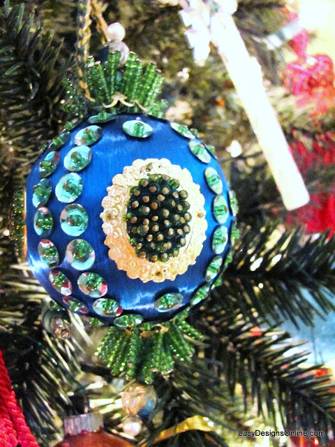 vintage peacock sequin ornament