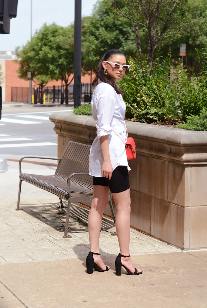 Black and White, Biker Shorts, Biker Short Romper, Shirt Dress