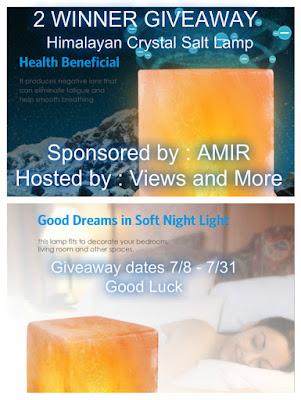Enter the Himalayan Crystal Salt Lamp Giveaway. Ends 7/31