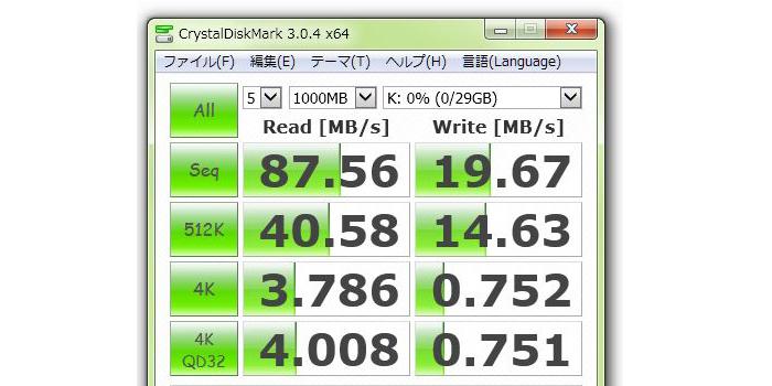 エレコム microSDHCカード 32GB「MF-HCMR32GU11」ベンチマークテスト結果