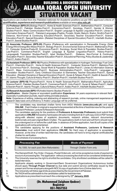 Allama Iqbal Open University Lectures Jobs male and female 2020