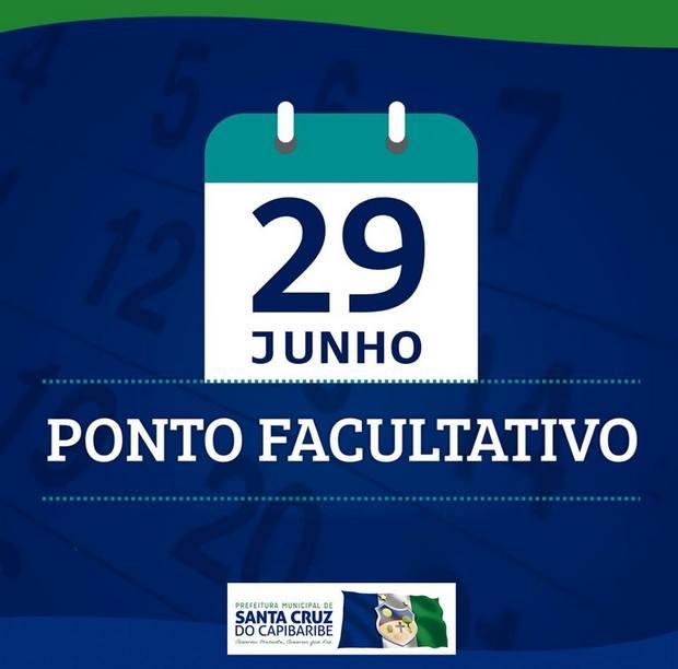 Prefeitura de Santa Cruz decreta ponto facultativo nesta sexta, 29 de junho, Dia de São Pedro