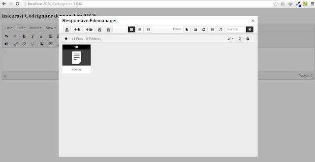 install tinymce codeigniter