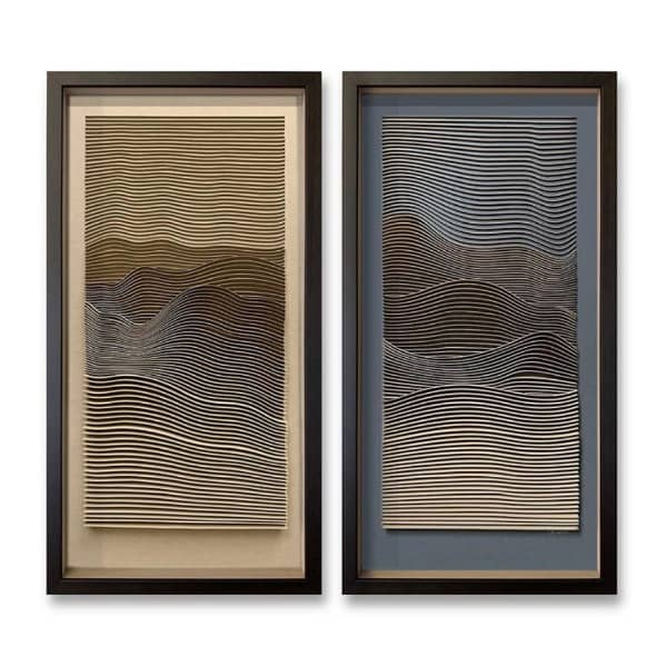 framed line drawing mountains paper art pair
