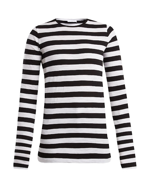 raey long sleeved striped slubby cotton jersey t shirt