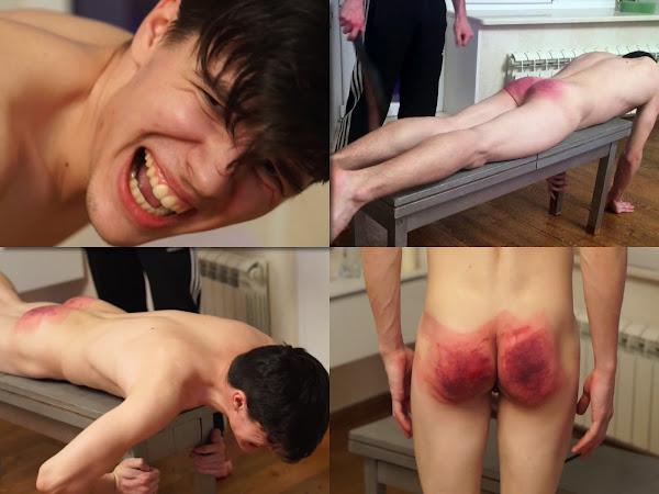 #RusStraightGuys - Belt spanking for Tim 19 y.o. for debts
