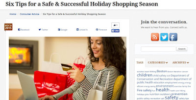 MA Gov blog post on 6 Tips for Safe Holiday Shopping