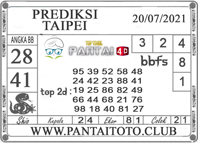 PREDIKSI TOGEL TAIPEI PANTAI4D 20 JULI 2021