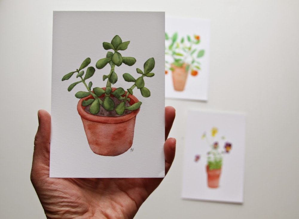 Jade Plant, Anne Butera, Watercolor
