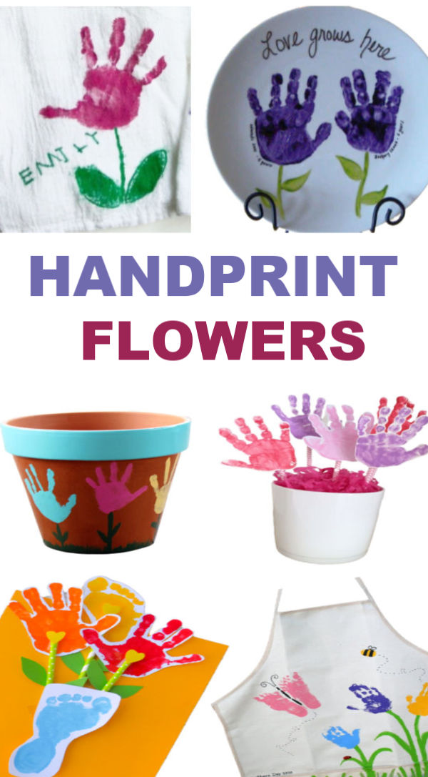 Hand-print flower crafts for kids to make this spring! #handprintart #handprintflowers #springcrafts #flowercraftsforkids #springflowers #growingajeweledrose