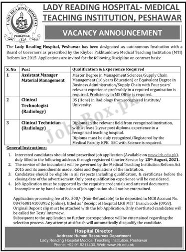 Lady Reading Hospital LRH Peshawar Jobs 2021 Latest Advertisement