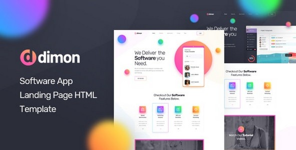 Dimon v1.0 - Software App Landing Page HTML Template