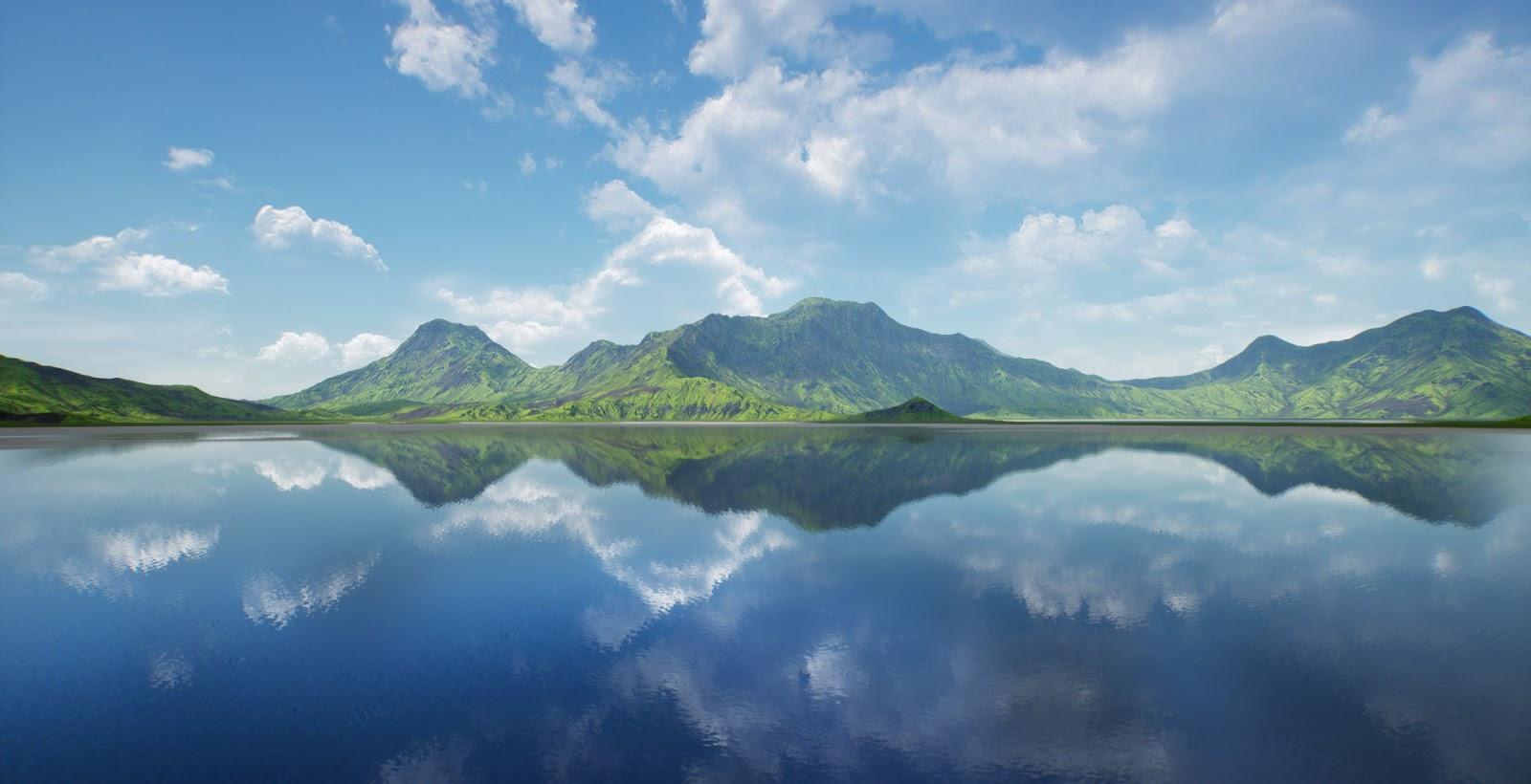 Fotografi Landscape Wallpaper Pemandangan Alam  Ukuran HD LAke and moutain