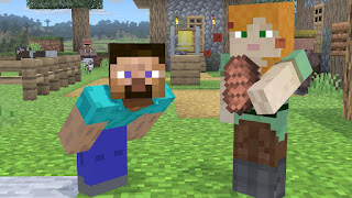 Steve and Alex on the Minecraft World stage