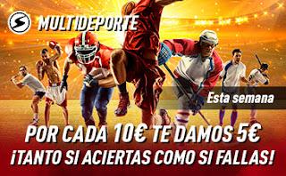 sportium Promoción Multideporte: Por cada 10€ ¡Te damos 5€! hasta 29 marzo 2020