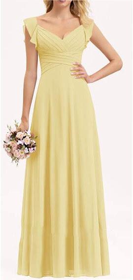 Long Yellow Chiffon Bridesmaid Dresses