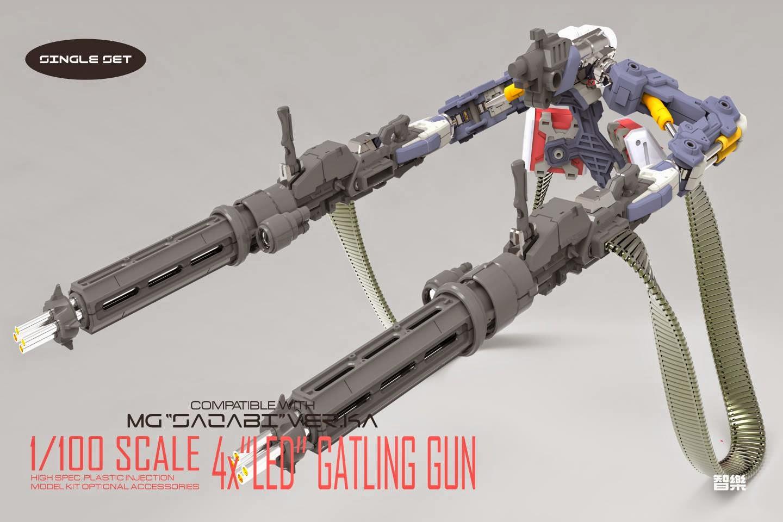 Playwright: 1/100 4x Gatling Gun Set + LED for MG Sazabi Ver  Ka