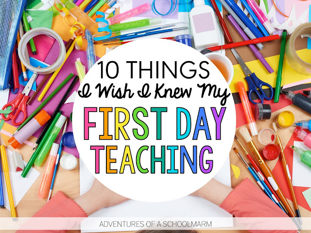 This post shares solutions to problems I wasn't expecting my first day as a new teacher. Learn from my mistakes so you can have a successful first day teaching! // Adventures of a Schoolmarm