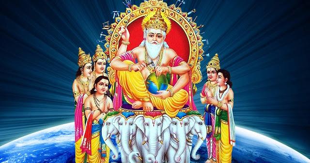 Best Lord Vishwakarma Puja  Wallpaper In Blue Background
