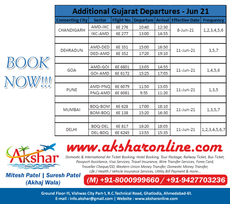 Indigo Airline Additional Gujarat Departures Jun 2021. Domestic & International Air Ticket Booking, Hotel Booking, Tour Package, Railway Ticket, Bus Ticket, Passport Assistance, Visa Services, Travel Insurance, Wire Transfer Services, Forex Card, Traveller Cheque/DD, Western Union Money Transfer, Domestic Money Transfer, Life / Health / Vehicle Insurance Services, Utility Bill Payment & more..., New Passport, Fresh Passport Application, Renew Passport Application, Driving Licence, RTO Works, Insurance Services and more...