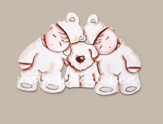 silueta de madera infantil bebés gemelos durmiendo con perrito babydelicatessen