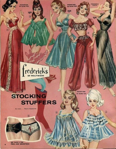 Advertisement for nightgowns and panties of all colors on pink background