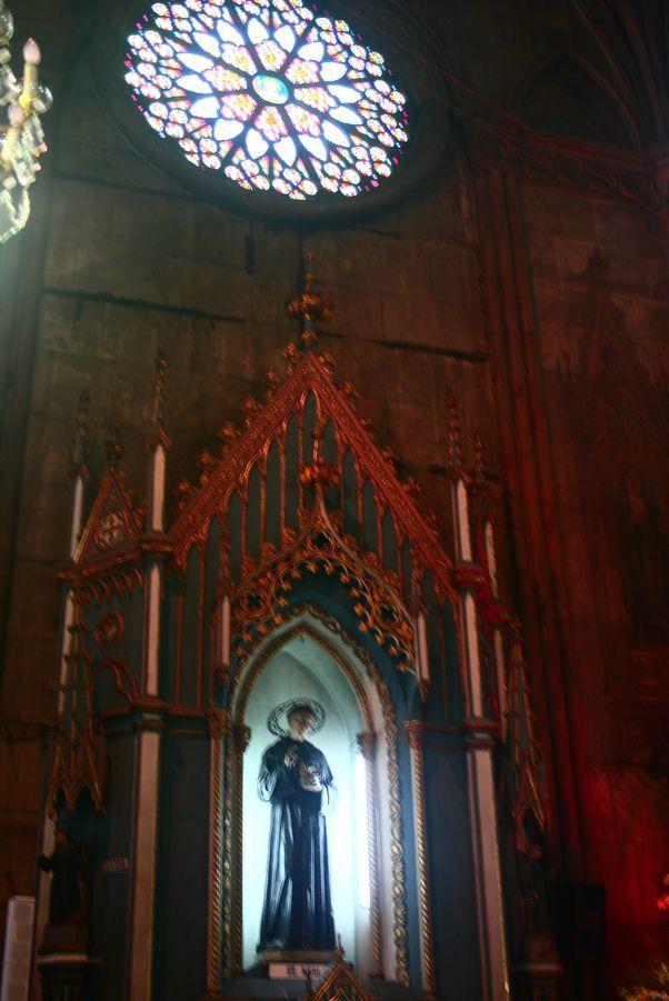 A religious statue inside San Sebastian Church