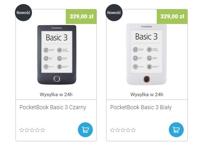 PocketBook Basic 3 dostępny w dwóch kolorach