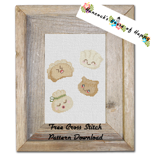 set of kawaii dimsum in cross stitch