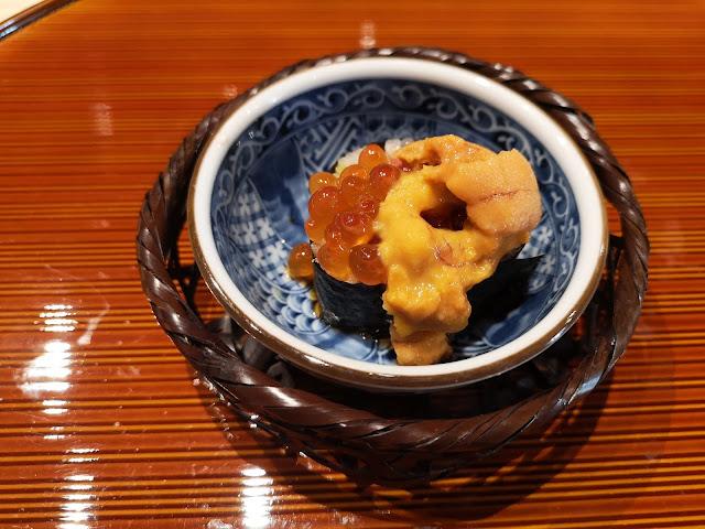 Maki with Cucumber, Japanese Pickles, Chopped Tuna and Aburi Otoro, topped with Ikura (Salmon Roe) and Uni (Sea Urchin)