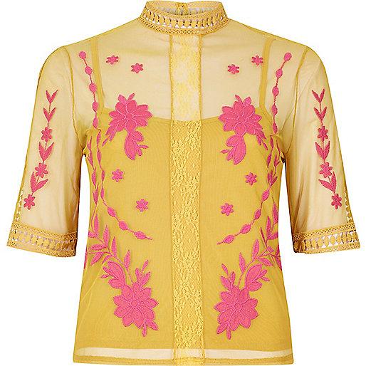 mustard pink sheer top, orange pink sheer top, embroidered sheer top,
