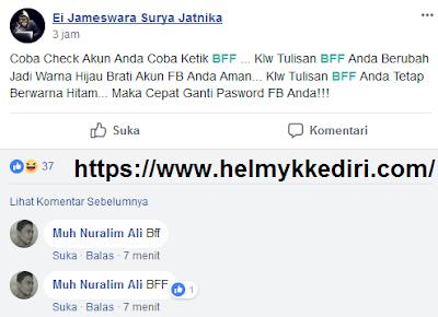 Ketik BFF untuk mengetahui keamanan facebook