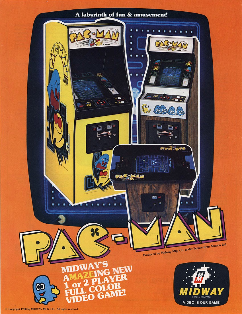 Pac Man+arcade+portable+game+art+flyer