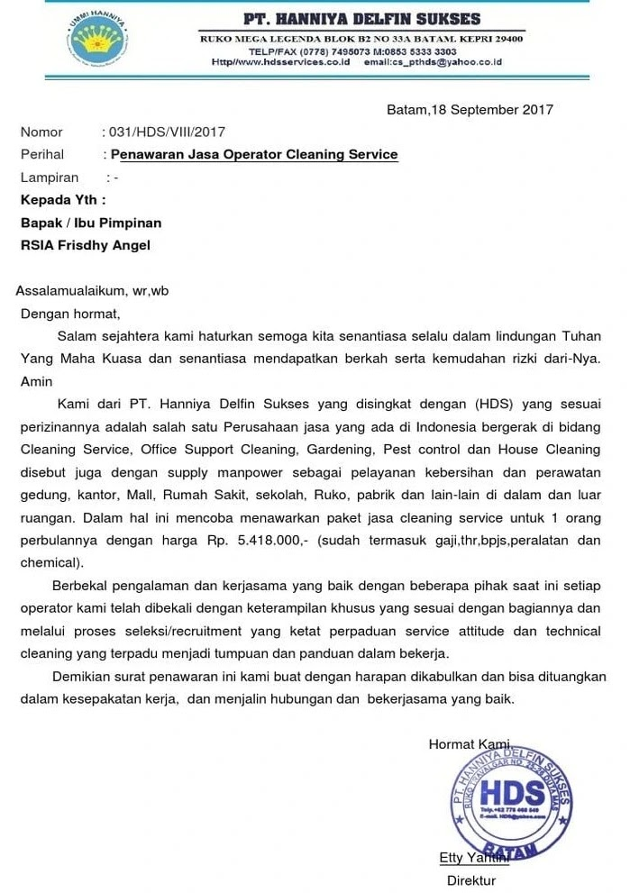 3. Contoh Surat Penawaran Jasa Cleaning Service